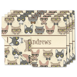 Hipster Cats Linen Placemat w/ Name or Text