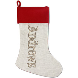 Hipster Cats Red Linen Stocking (Personalized)