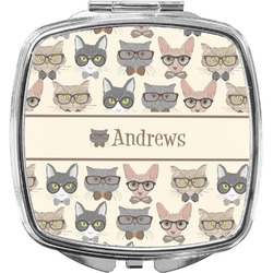 Hipster Cats Compact Makeup Mirror (Personalized)