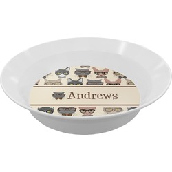 Hipster Cats Melamine Bowl (Personalized)