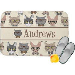 Hipster Cats Memory Foam Bath Mat (Personalized)