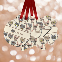 Hipster Cats Metal Ornaments - Double Sided w/ Name or Text