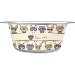 Hipster Cats Stainless Steel Pet Bowl (Personalized)