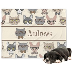 Hipster Cats Minky Dog Blanket (Personalized)