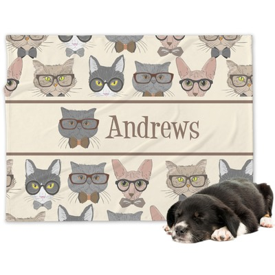 Hipster Cats Dog Blanket (Personalized)