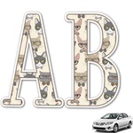 Hipster Cats Monogram Car Decal (Personalized)