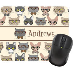 Hipster Cats Rectangular Mouse Pad (Personalized)