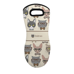 Hipster Cats Neoprene Oven Mitt - Single w/ Name or Text