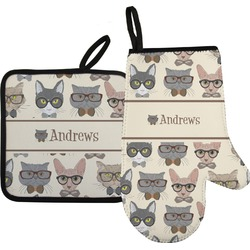 Hipster Cats Oven Mitt & Pot Holder Set w/ Name or Text