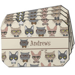 Hipster Cats Dining Table Mat - Octagon w/ Name or Text