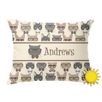Hipster Cats Outdoor Throw Pillow (Rectangular) (Personalized)