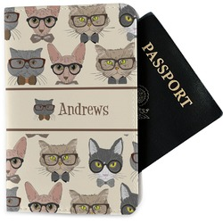 Hipster Cats Passport Holder - Fabric (Personalized)