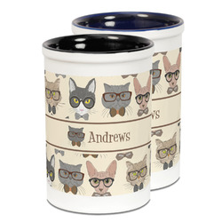 Hipster Cats Ceramic Pencil Holder - Large