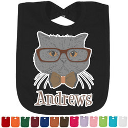 Hipster Cats Baby Bib - 14 Bib Colors (Personalized)