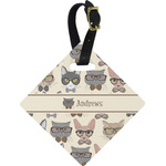 Hipster Cats Diamond Luggage Tag (Personalized)