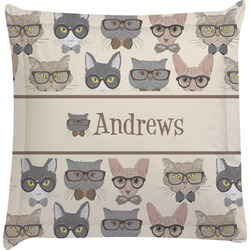 Hipster Cats Euro Sham Pillow Case (Personalized)
