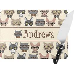 "Hipster Cats Rectangular Glass Cutting Board - Medium - 11""x8"" (Personalized)"