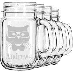 Hipster Cats Mason Jar Mugs (Set of 4) (Personalized)