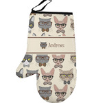 Hipster Cats Left Oven Mitt (Personalized)