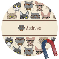 Hipster Cats Round Magnet (Personalized)