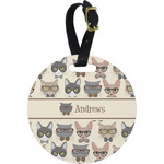 Hipster Cats Plastic Luggage Tag - Round (Personalized)