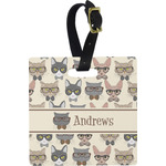 Hipster Cats Square Luggage Tag (Personalized)