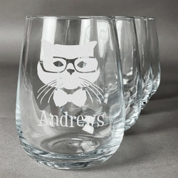 Hipster Cats Stemless Wine Glasses (Set of 4) (Personalized)