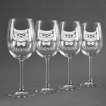 Hipster Cats Wine Glasses (Set of 4) (Personalized)