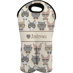 Hipster Cats Wine Tote Bag (2 Bottles) (Personalized)