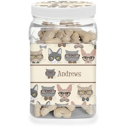 Hipster Cats Dog Treat Jar (Personalized)