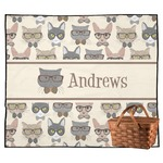 Hipster Cats Outdoor Picnic Blanket (Personalized)