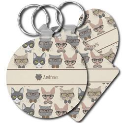 Hipster Cats Plastic Keychains (Personalized)