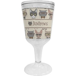 Hipster Cats Wine Tumbler - 11 oz Plastic (Personalized)