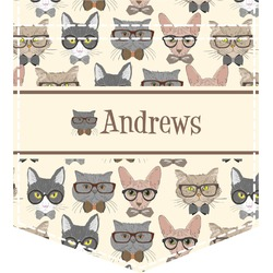 Hipster Cats Iron On Faux Pocket (Personalized)