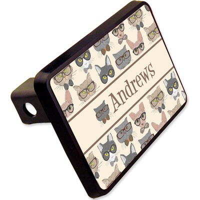 "Hipster Cats Rectangular Trailer Hitch Cover - 2"" (Personalized)"