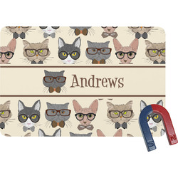 Hipster Cats Rectangular Fridge Magnet (Personalized)