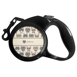 Hipster Cats Retractable Dog Leash - Multiple Sizes (Personalized)