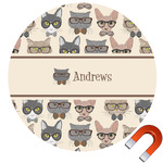 Hipster Cats Round Car Magnet (Personalized)
