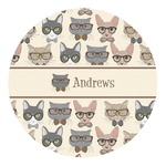 Hipster Cats Round Decal (Personalized)