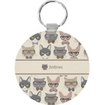 Hipster Cats Round Keychain (Personalized)
