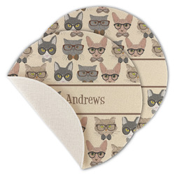 Hipster Cats Round Linen Placemat (Personalized)