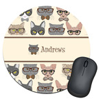 Hipster Cats Round Mouse Pad (Personalized)
