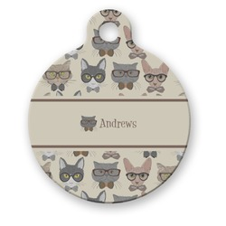 Hipster Cats Round Pet Tag (Personalized)