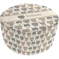 Hipster Cats Round Pouf Ottoman (Personalized)