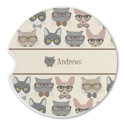 Hipster Cats Sandstone Car Coaster - Single (Personalized)