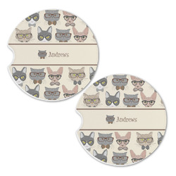 Hipster Cats Sandstone Car Coasters - Set of 2 (Personalized)