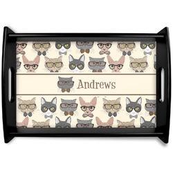 Hipster Cats Black Wooden Tray (Personalized)