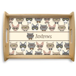 Hipster Cats Natural Wooden Tray (Personalized)