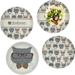 """Hipster Cats Set of 4 Glass Lunch / Dinner Plate 10"""" (Personalized)"""