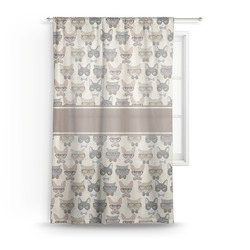 "Hipster Cats Sheer Curtain - 50""x84"" (Personalized)"